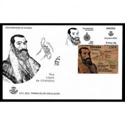 2021 Spagna Esploratori Ruy López de Villalobos francobollo in legno FDC