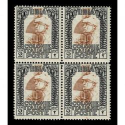 1924 Libia 2cent Pittorica Sas.45 quartina nuova MNH/**