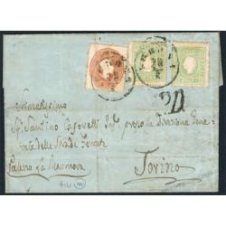 1863 Splendida Lettera affrancatura bicolore da Verona per Torino Uff. Amb.