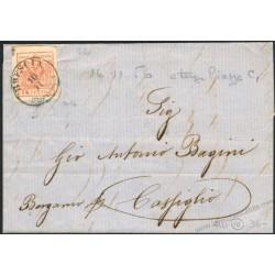 Lettera da Brescia 2CO a Piazza con 15c III tipo firmata Colla