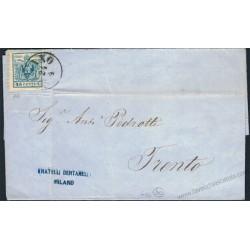 Lettera da Milano C1 a Trento con 45c. carta Macchina