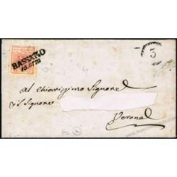 Lettera da Bassano SD per Verona 15c II° tipo firmata Diena