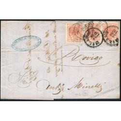 1853 Lettera commerciale da Milano per Rovigo striscia di tre 15c III tav