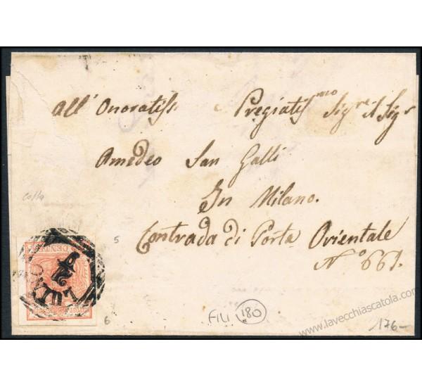 1853 Lettera da Luino a Milano annullo LOV (6 punti) firmata Colla