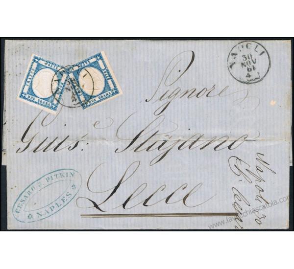 1861 Bella Lettera da Napoli a Lecce quotazioni della borsa di Napoli
