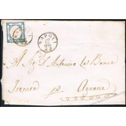 1861 Lettera da Napoli per Agnone via Iserna con datario capovolto