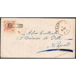 1859 Lettera con testo da Campobasso a Napoli 2 Grana I° Tav