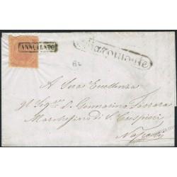 1859 Lettera con testo da Chiaromonte (7 punti) - 2 Grana I tav. Carta Crema