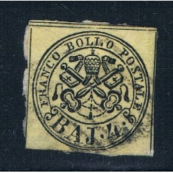 1852 ASI Stato Pontificio 4 Baj Sas.5Ab Giallo chiaro