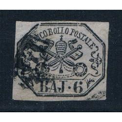1852 ASI Stato Pontificio 6 Baj Sas.7a Grigio
