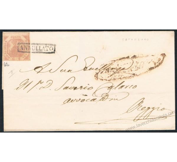 1858 Piego da Catanzaro (1° Maggio) a Reggio Calabria 2gr II tav 6b