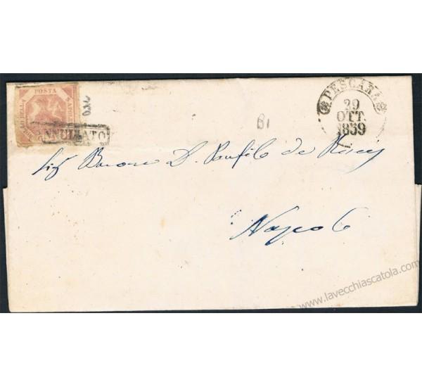 1859 Lettera da Pescara (6 punti) a Napoli 2gr I° Tav Sas.5c