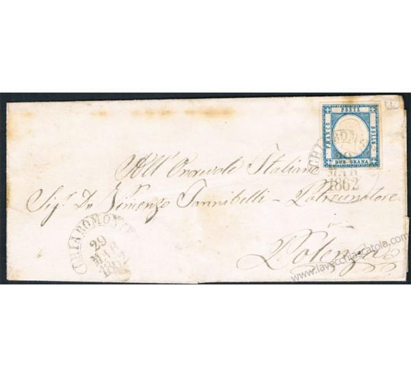 1862 Piego da Chiaromonte (6punti) a Potenza 2gr Province Napoletane