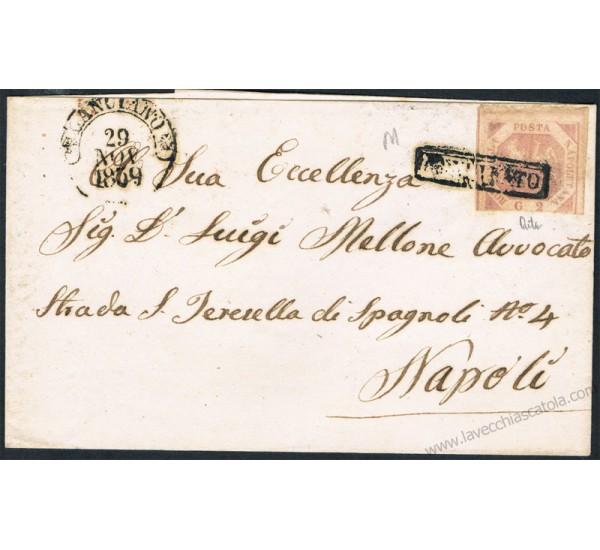 1859 Piego da Lanciano a Napoli 2grana I° tav n.5c