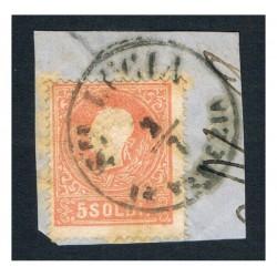 1859 ASI 5 Soldi II° tipo Sas.30 su frammento annullo C1