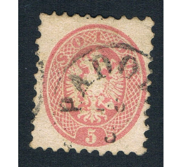 1864 ASI Lombardo Veneto 5 Soldi Sas.43 annullo Padova