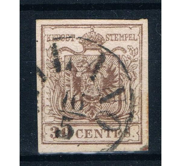 1853 ASI Lombardo Veneto 30 cent Sas.8 annullo Milano
