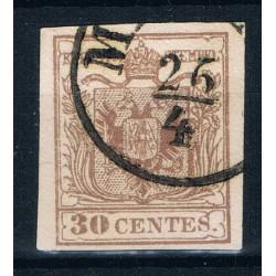 1853 ASI Lombardo Veneto 30 cent Sas.21a Carta Macchina annullo Milano