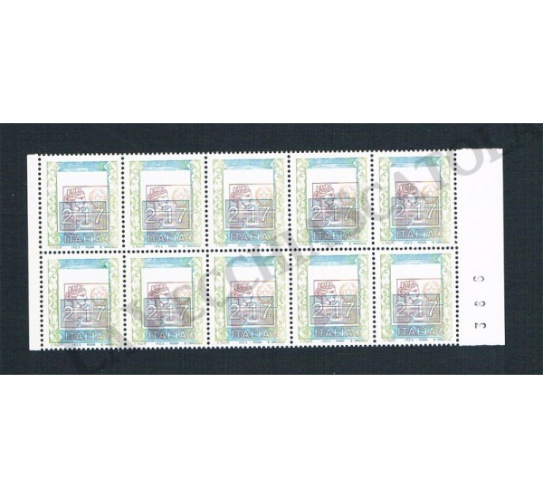 2002 Varietà Fuori Registro Alti Valori 2,17€€ blocco da 10