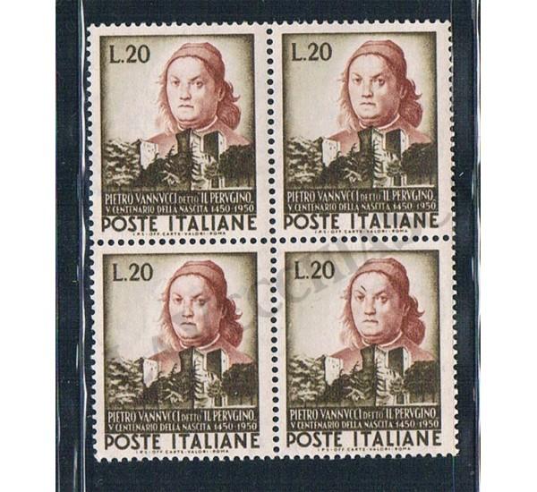 1951 - Pietro Vannucci detto il Perugino - Quartina MNH/**