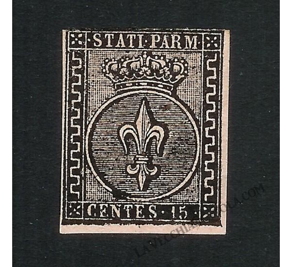 1852 ASI 15c rosa Ducato di Parma Sas.3 Cert. Diena NUOVO