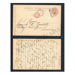 Cartolina Postale 10c Umberto I Napoli - Londra