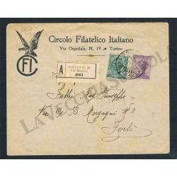 1919 Raccomandata dal Circolo Filatelico Italiano di Torino