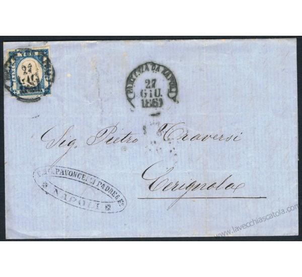 Lettera con testo da Napoli a Cerignola 2gr Province Napoletane
