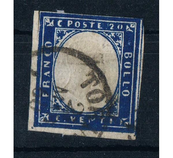 ASI Sardegna 20cent Sas.15C Azzurro Scurissimo firmato Ballabio