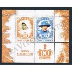 2016 Niue 90° compleanno Regina Elisabetta foglietto MNH/**