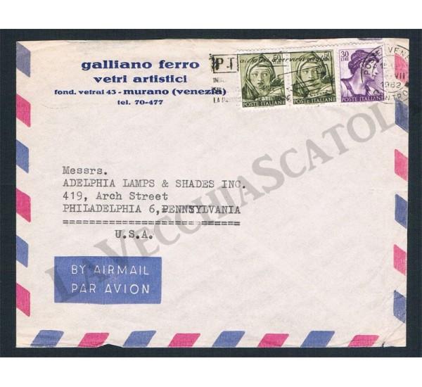 Storia postale regno 1962 lettera posta aerea per for Indirizzo postale