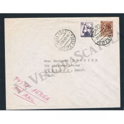 1963 lettera posta aerea per Oakland - michelangiolesca + siracusana