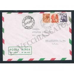 1962 affrancatura tricolore da Vicenza a Philadelphia
