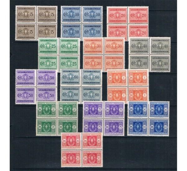 1934 Segnatasse serie completa in quartine MNH/**