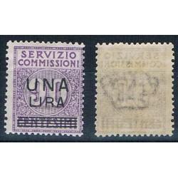 1925 Servizio Commissioni 1 lira su 90cent MLH/*