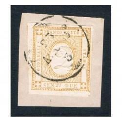 1862 francobollo per giornali 2cent Sas.10a su frammento