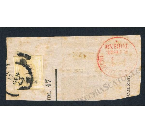 1862 francobollo per giornali su frammento 2cent giallo chiaro