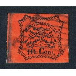 1867 Stato Pontificio 10cent usato Sas.17