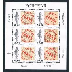 2016 Faroer francobollo con vera pelle di merluzzo Minifoglio
