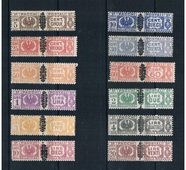 1945 RSI Pacchi Postali con fregio nero 12val MLH/*