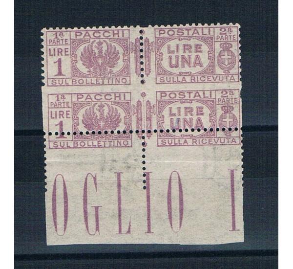 1927 Varietà Pacchi Postali Sas.30hb MNH/** - 1 lira violetto