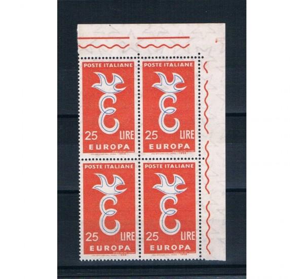 1958 Varietà Europa CEPT CEI.851b Quartina