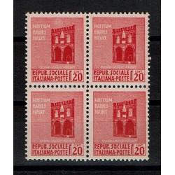 1944 RSI Monumenti Distrutti Sas.496 Quartina MNH/**