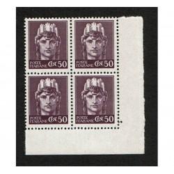 1945 RSI Cent 50 imperiale senza fasci Sas.538 Quartina