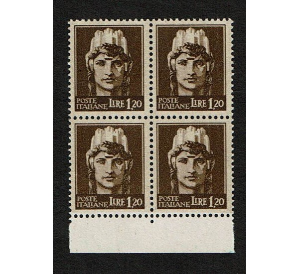 1945 RSI Lire 1,20 imperiale senza fasci Sas.532 Quartina