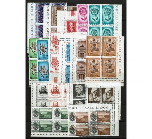 1964 Repubblica Annata completa in Quartine angolo MNH/**