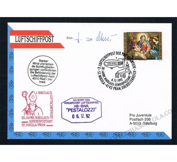 1992 Luftschiffpost n.2 Dirigibile HB-BWA - Autografata