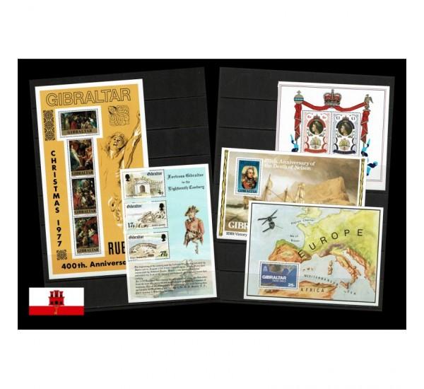 Gibilterra Lotto di 5 foglietti nuovi MNH/**