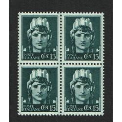 1929 Serie Imperiale cent 15 Sas.246 Quartina MNH/**