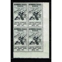 1952 Mostra truppe alpine quartina angolo foglio MNH/**